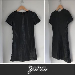 ZARA Faux Leather Lace-up Mini Dress • XS